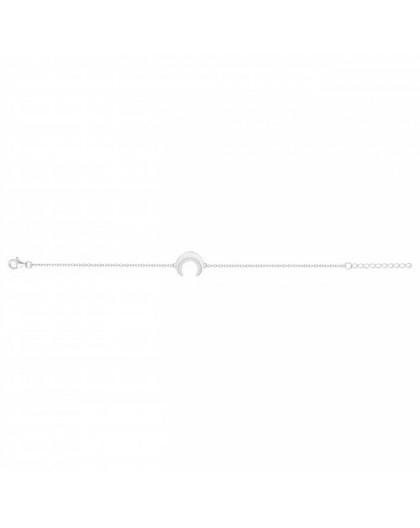 Bracelet Argent rhodié motif croissant de lune