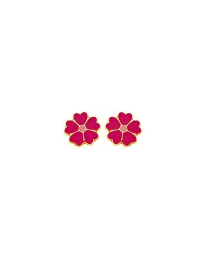 Boucles d'oreilles Or fermoir vis motif fleurs fushia