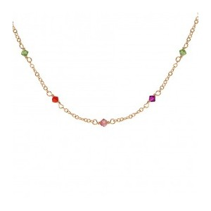 Collier plaqué Or oxydes multicolores