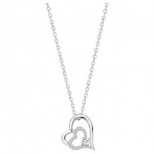 Collier argent oxyde Zirconium double coeur