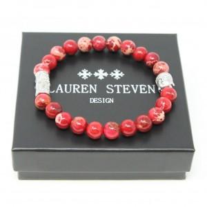 Bracelet Lauren Steven Jaspe de mer rouge taille L