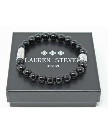 Bracelet Lauren Steven Agate noire taille L