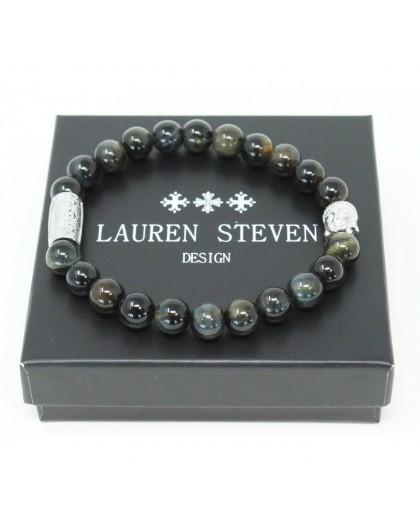 Bracelet Lauren Steven Oeil Tigre bleu taille M