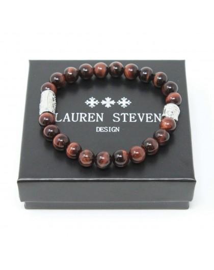 Bracelet Lauren Steven Oeil de tigre rouge tailleM