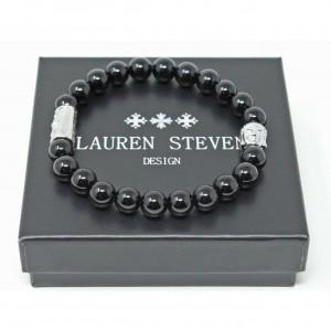 Bracelet Lauren Steven Agate noire taille M