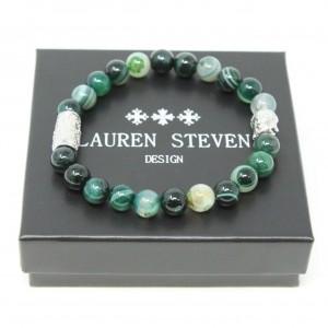 Bracelet Lauren Steven Agate verte taille M