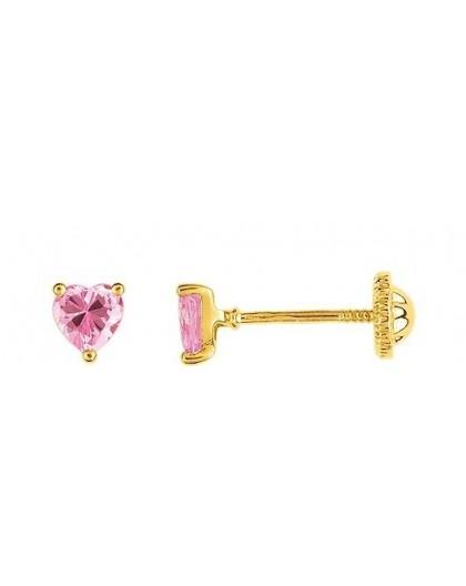 Boucles d'oreilles Or fermoir vis OZ coeur rose