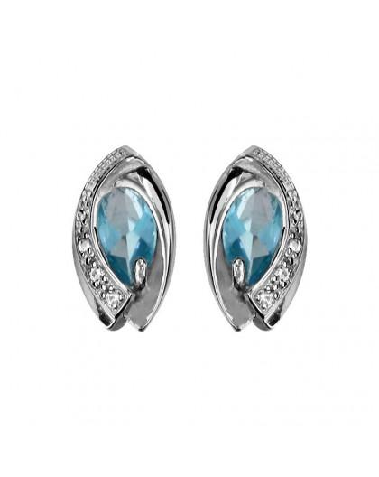 Boucles d'oreilles argent pierres bleues topaze