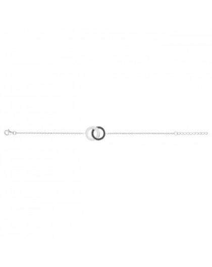 Bracelet Argent double cercles Oz noirs