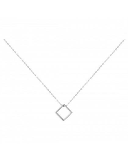 Collier Argent oxydes Zirc motif carré