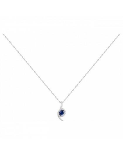 Collier Argent oxydes zirconium bleu moderne