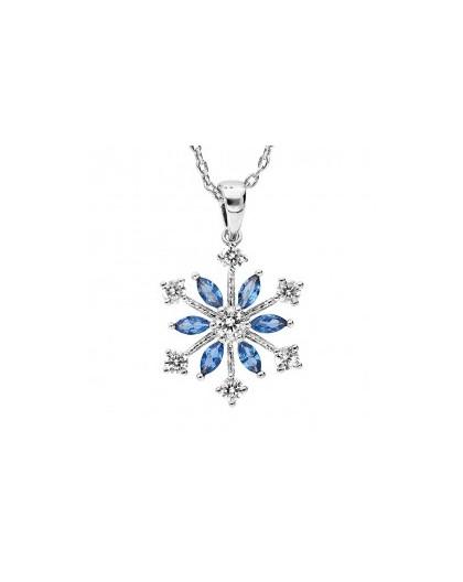 Collier Argent flocon de neige oxydes bleus