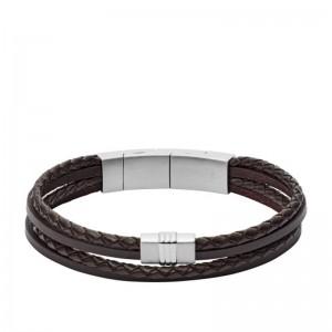 Bracelet Fossil Homme JF02934040 cuir noir
