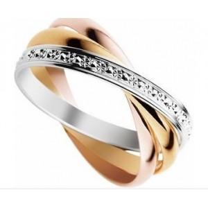 Alliance entrelacée 3 Ors lisse/Diamantée 2.5mm