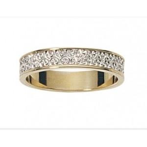 Alliance 2 Ors gris/jaune diamantée 4mm