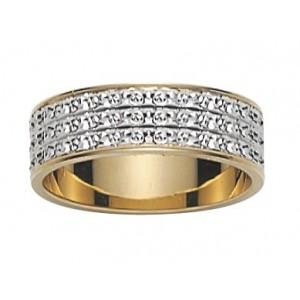 Alliance 2 Ors gris/jaune 3 rangs diamantée 6mm