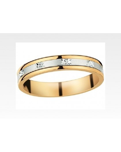 Alliance 2 Ors gris/jaune étoilée diamantée 3.5mm