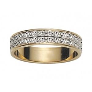 Alliance 2 Ors gris/jaune 2 rangs diamantée 4.5mm