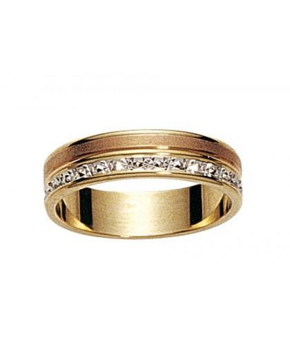Alliance 3 Ors gris/jaune/rose diamantée 5mm