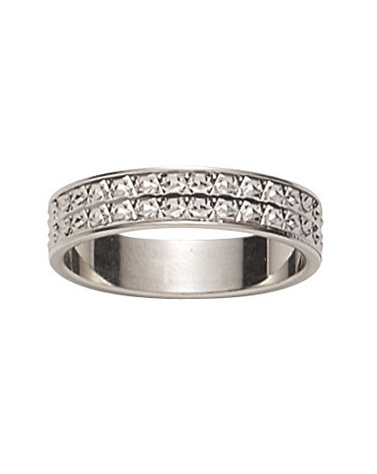 Alliance Or gris 2 rangs diamantée 4.5mm