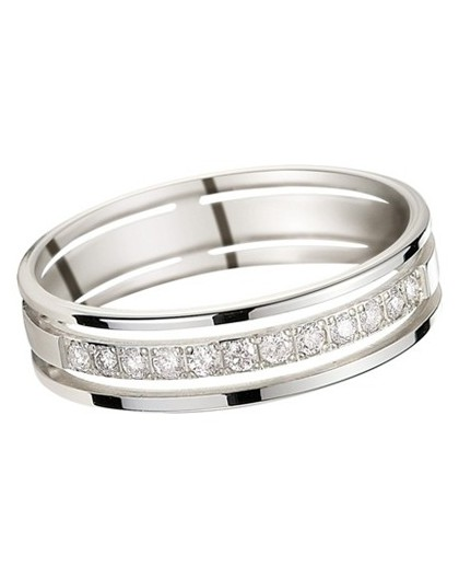 Alliance Or gris ajourée 12 Diamants 0.20ct 5mm