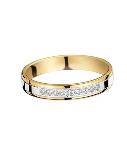 Alliance or gris/jaune 9 diamants 0.15ct 3.5mm