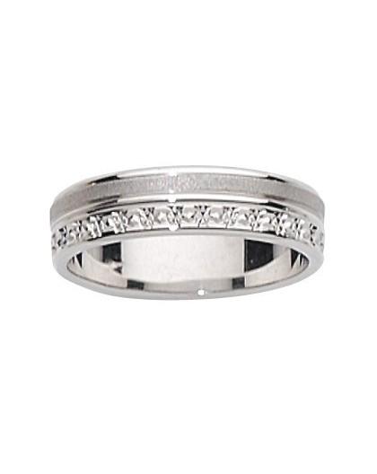 Alliance Or gris brossée/diamantée 5mm