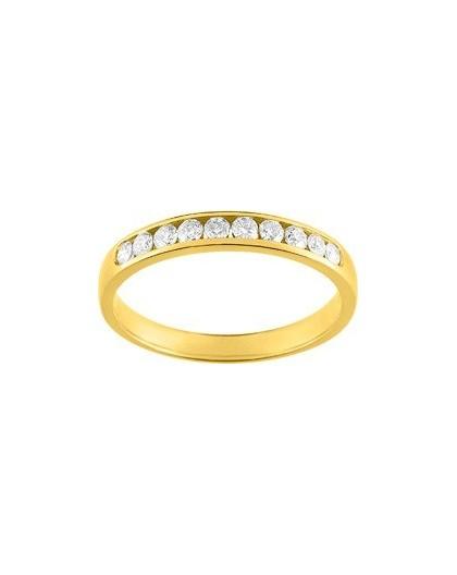 Alliance Or jaune 1/2 tour Diamants 0.25Ct