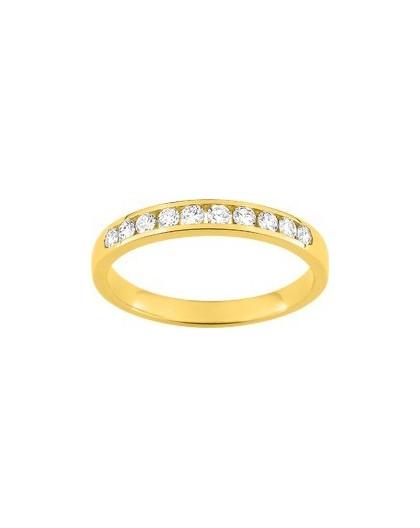 Alliance Or jaune 1/2 tour diamants 0.30Ct