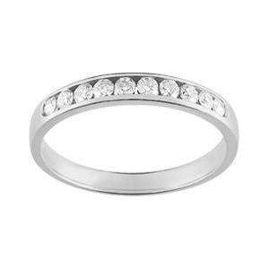 Alliance Or gris 1/2 tour diamants 0.25Ct
