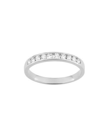 Alliance Or gris 1/2 tour diamants 0.30Ct