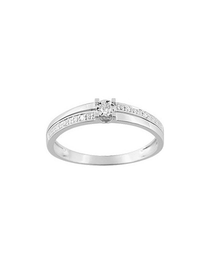 Solitaire accompagné Or gris et diamants 0.04Ct