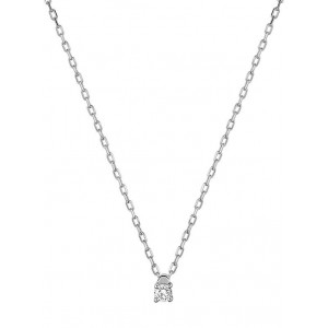 Collier Or gris et diamant serti 4 griffes 0.04Ct