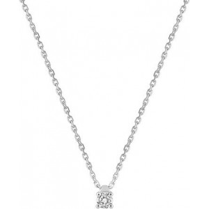 Collier Or gris et diamant serti 4 griffes 0.10Ct