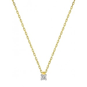 Collier Or jaune et diamant serti 4 griffes 0.07Ct