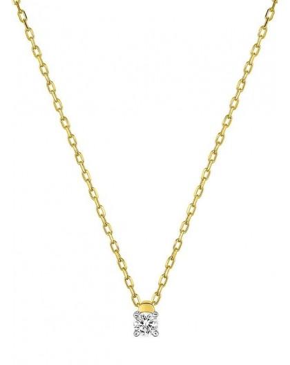 Collier Or jaune et diamant serti 4 griffes 0.07Ct