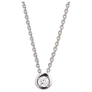 Collier Or gris et diamant serti pneu 0.08Ct