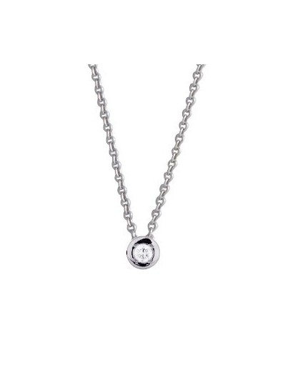 Collier Or gris et diamant serti pneu 0.04Ct