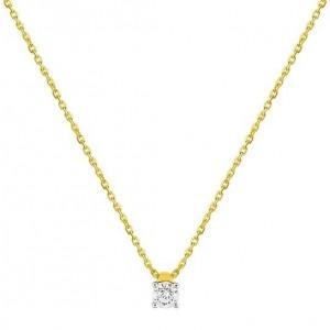 Collier Or jaune et diamant serti 4 griffes 0.20Ct