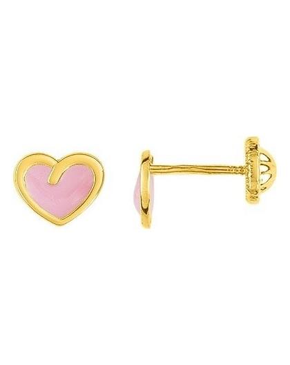 Boucles d'oreilles Or fermoir vis coeur rosé