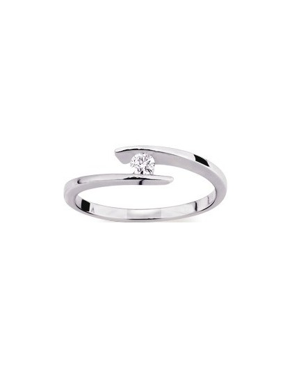 Solitaire moderne Diamant 0.08 Ct Or gris