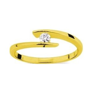 Solitaire moderne Diamant 0.08 Ct Or jaune