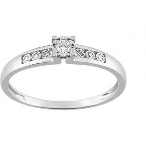 Solitaire Or gris accompagné Diamants 0.07 Ct