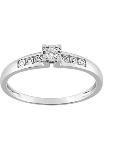 Solitaire Or gris accompagné Diamants 0.07 Ct
