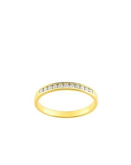 Alliance Or jaune Diamants sertis rail 0.15 Ct