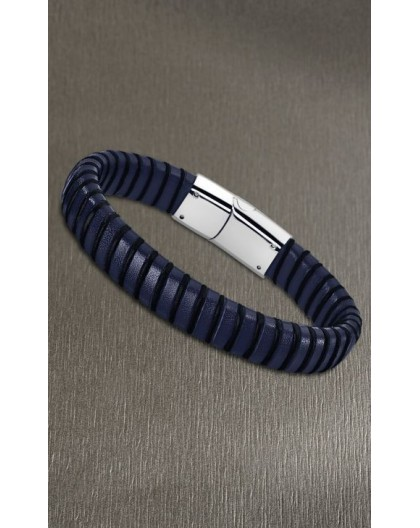 Bracelet Lotus style LS1879-2/3 cuir bleu