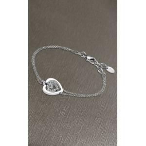 Bracelet Lotus style acier LS1867-2/1 coeur strass