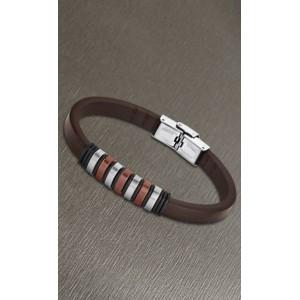 Bracelet Lotus style acier LS1827-2/3 cuir marron