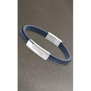 Bracelet Lotus style LS1965-2/2 cuir bleu