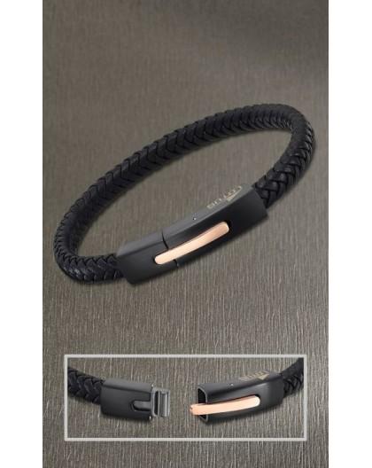 Bracelet Lotus style LS2055-2/4 cuir noir